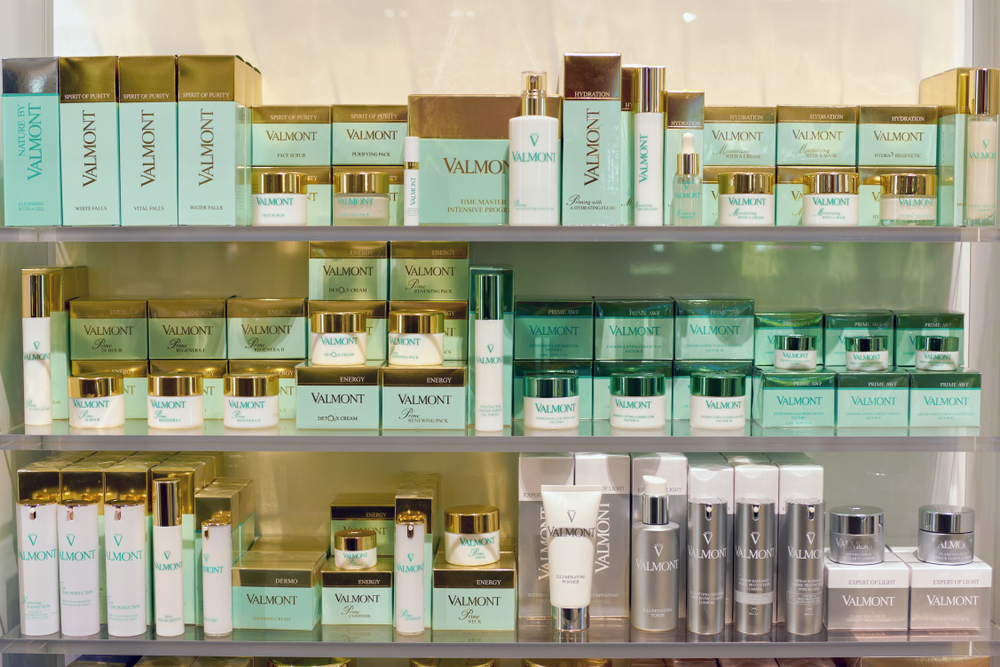 Valmont cosmetics sit on display